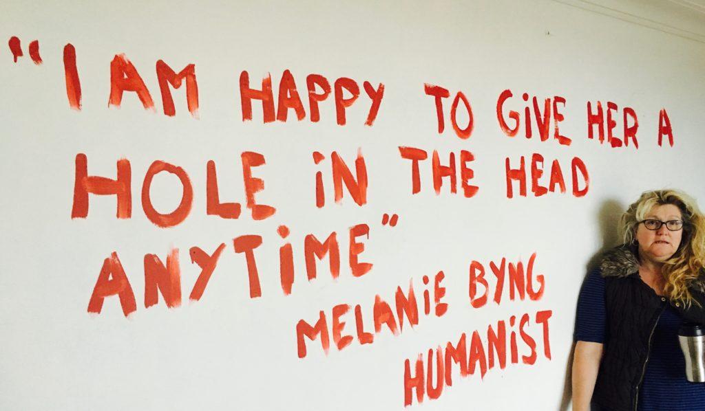 "Melanie Byng threatened to shoot Angel Garden ""anytime"""