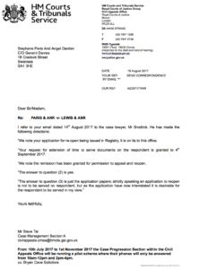stop defamation.net - letter from court of appeal cc-ing respondents before service
